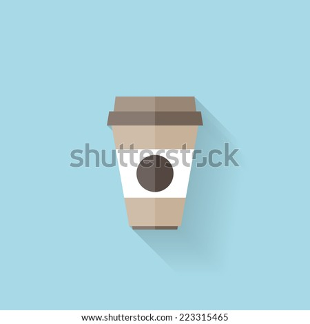 Flat web icon. Coffee cup. - stock vector