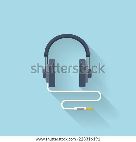 Flat web icon. Headphones. - stock vector