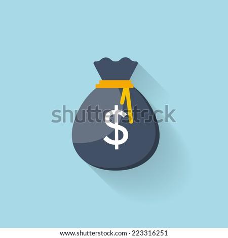 Flat web icon. Money bag - stock vector