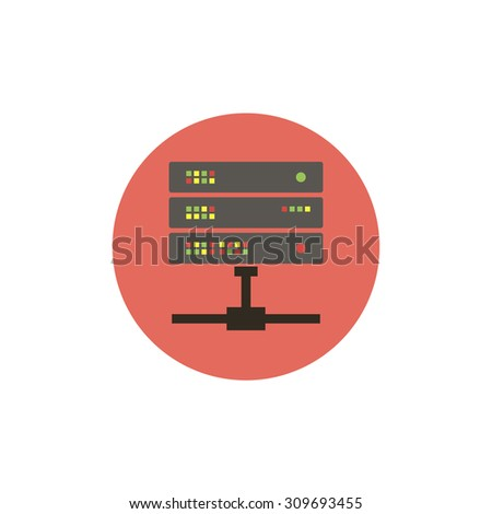 Flat web icon of computer server  - stock vector