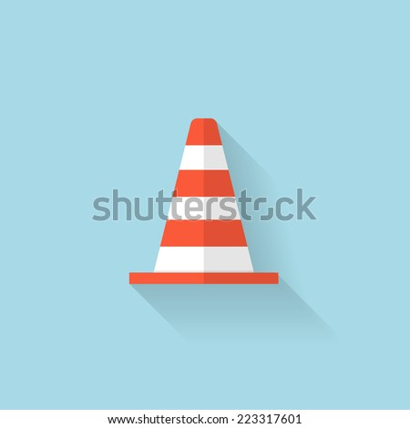 Flat web icon. Traffic cone. - stock vector