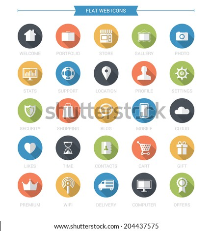 Flat Web Icons Set - stock vector