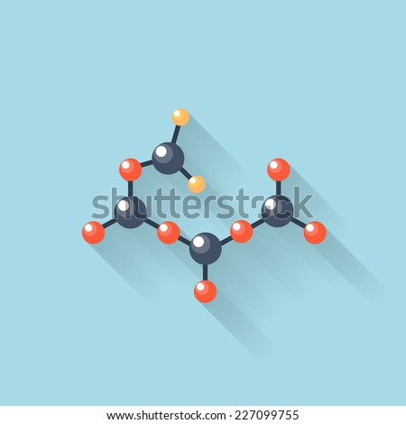 Flat web internet icon. Molecule, chemical atomic model. - stock vector