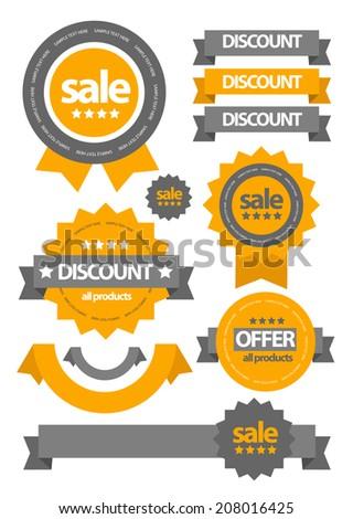 flat web sale badges labels - stock vector