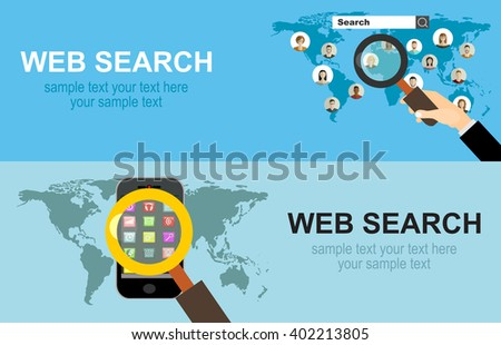 Flat web search background. Internet information and data. Loupe. - stock vector