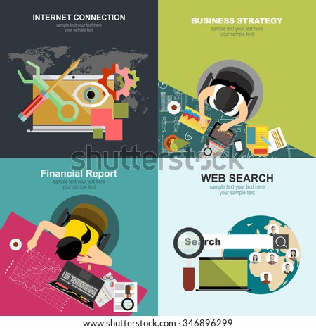 Flat web search background. Internet information and data. Loupe.Flat design illustration concepts for business analysis and planning, consulting, team work, project management, brainstorming. - stock vector