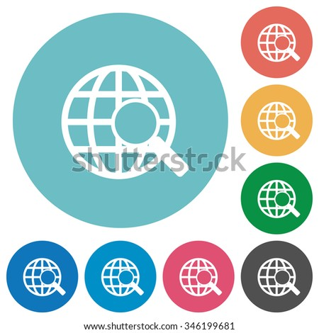 Flat web search icon set on round color background. 8 color variations included with light teme. - stock vector