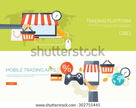 Flat web shopping background. Internet store. Online shop. E-commerce and virtual trade. - stock vector