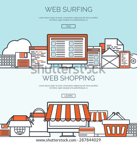 Flat web store, internet shopping and web surfing background. Internet. - stock vector