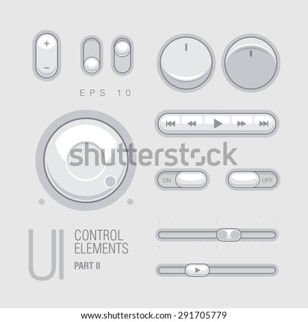 Flat Web UI Elements Design Gray. Elements: Buttons, Switchers, Slider - stock vector