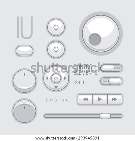 Flat Web UI Elements Design Gray. Elements: Buttons, Switchers, Slider