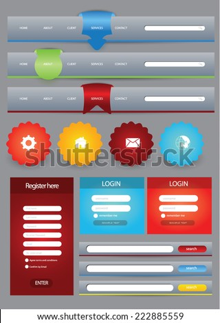 Flat web user interface element set