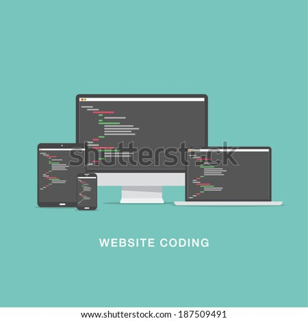 Flat website coding development vector illustration - stock vector