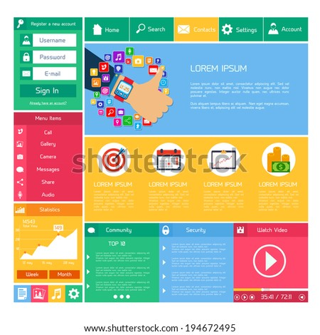 Flat website design template internet and applications layout elements vector illustration - stock vector