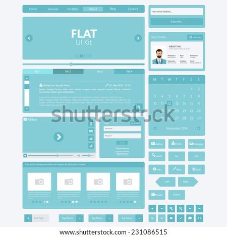 Flat Website elements, Ui kits. Vector illustration - stock vector
