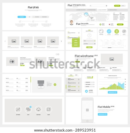 Flat website, mobile UI kit for business templates - stock vector