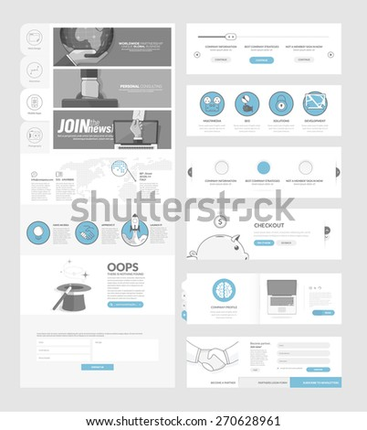 Flat website navigation elements with banners and concept icons - stock vector