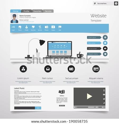 Flat Website template - stock vector