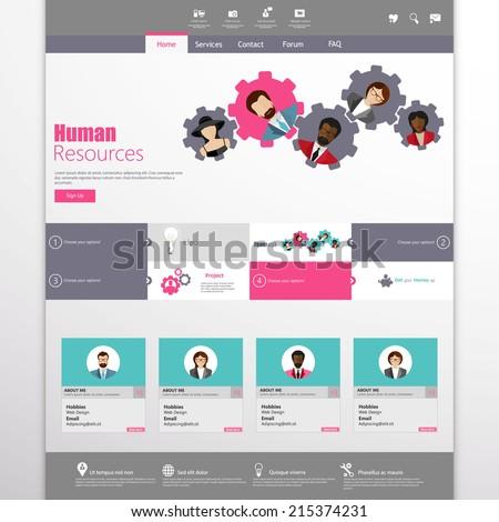 Flat Website Template Vector Design  - stock vector