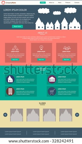 Flat Website Template Vector Design, suitable for business and real estate sites - stock vector
