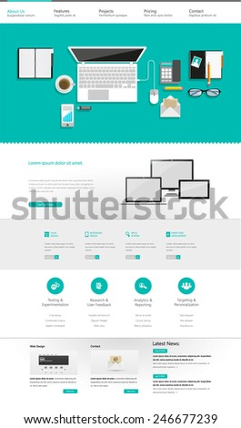 Flat Website Template Vector Eps 10  - stock vector