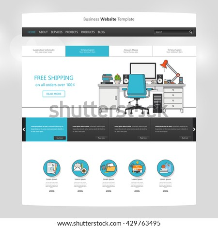 Flat Website Template Vector Eps10, Modern Web Design with UI elements. Ideal for Business layout - stock vector
