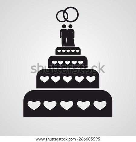 Flat wedding cake icon - stock vector
