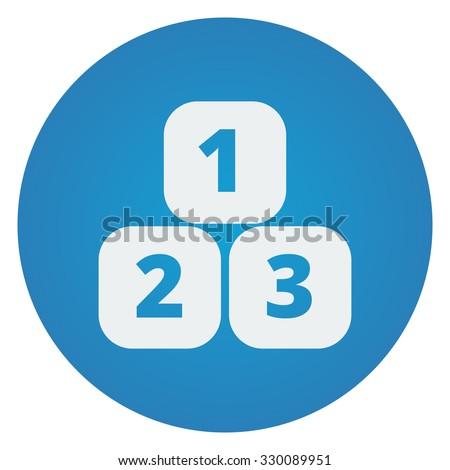 Flat white 123 Blocks icon on blue circle - stock vector