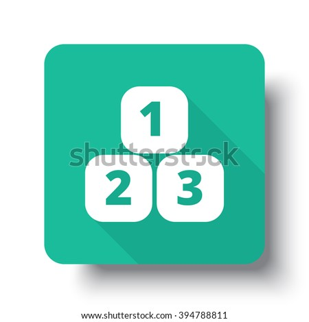 Flat white 123 Blocks web icon on green button with drop shadow - stock vector