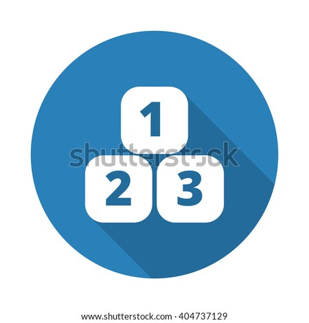Flat white 123 Blocks web icon with long drop shadow on blue circle - stock vector