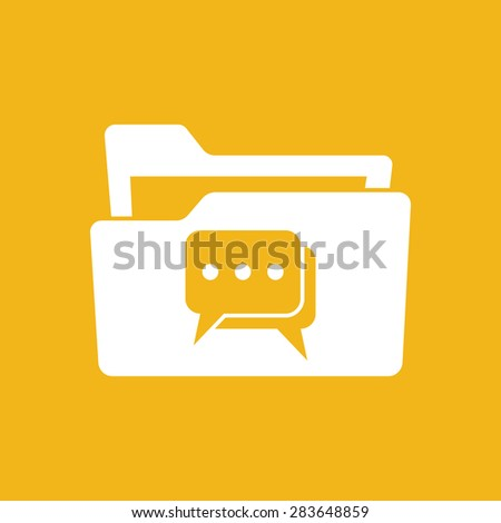 flat white folder icon with chat icon pictogram - vector illustration - stock vector