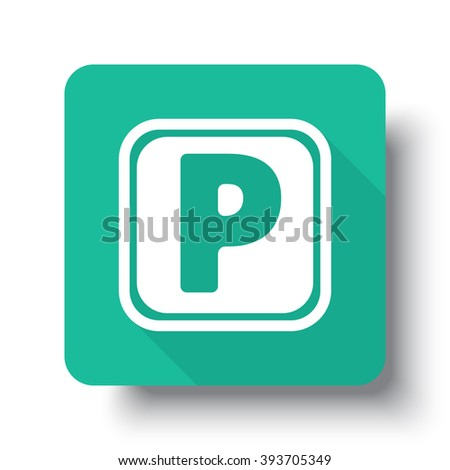 Flat white Parking web icon on green button with drop shadow