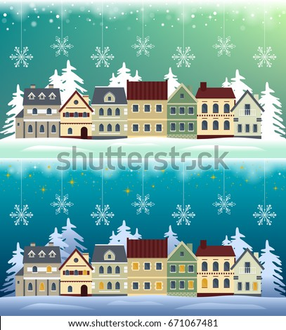 Flat winter cityscape: day and night. Snowy city, town or village with falling snow. Urban landscape. Vector illustration.