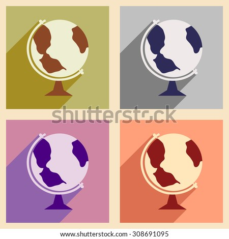 Flat with shadow concept and mobile application globe icon  - stock vector