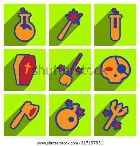 Flat with shadow concept Halloween Icons on a colored background - stock vector