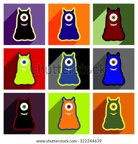 Flat with shadow concept Icon cyclops monsters on bright background - stock vector