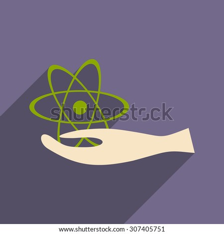 Flat with shadow icon and mobile application  atom - stock vector