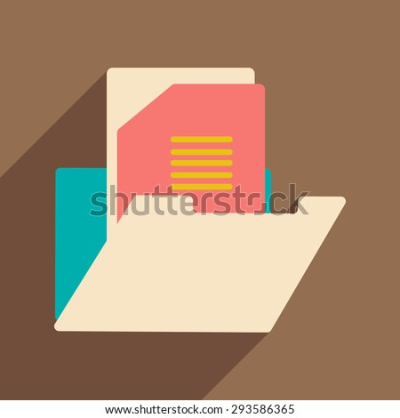 Flat with shadow icon and mobile application folder - stock vector