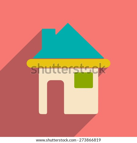 Flat with shadow icon and mobile application house  - stock vector