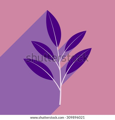 Flat with shadow icon and mobile application leaves branch  - stock vector