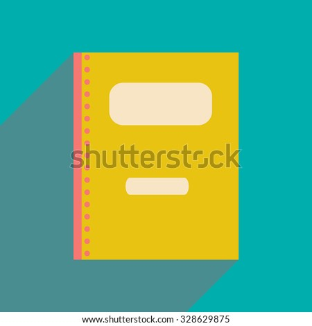 Flat with shadow icon and mobile application notebook  - stock vector