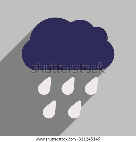 Flat with shadow icon and mobile application rain cloud  - stock vector