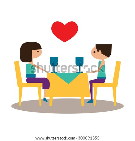Flat with shadow icon and mobile application romantic dinner - stock vector