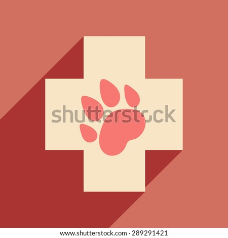 Flat with shadow icon and mobile application Veterinary - stock vector