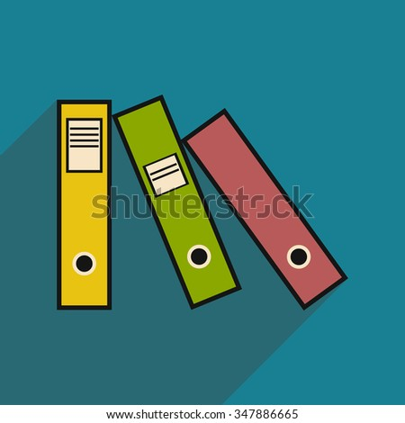 Flat with shadow icon folders for documents  - stock vector