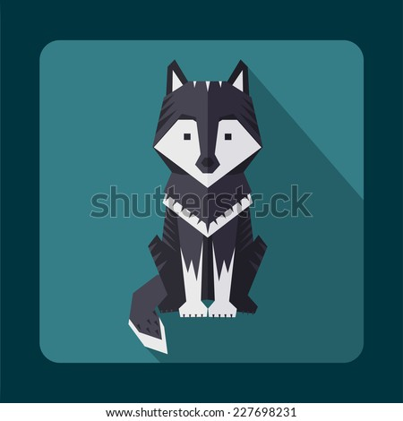 flat wolf - stock vector