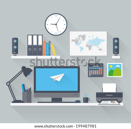 Flat work space with long shadow - stock vector