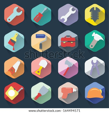 Flat working tools icons set - stock vector