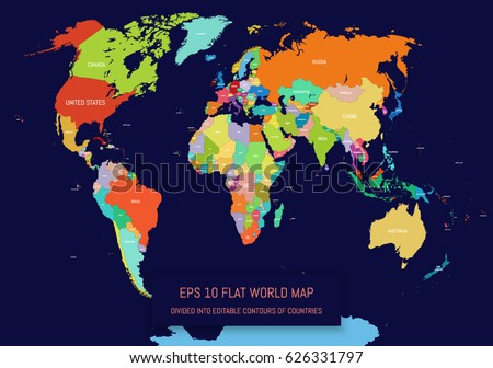 Flat world map divided into editable stock vector 626331797 flat world map divided into editable contours of countries country names template for your gumiabroncs Image collections
