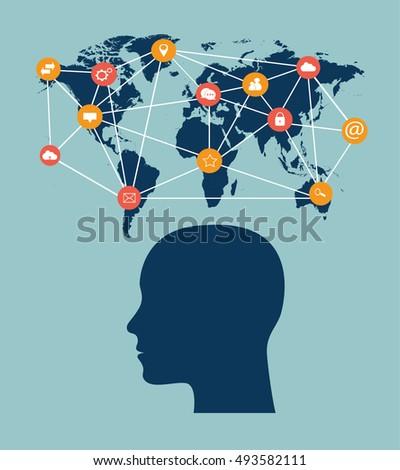 Flat World Map Social Media Icons Stock Photo Photo Vector
